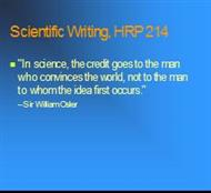 Scientific Writing, HRP 214 powerpoint presentation
