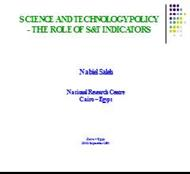 SCIENCE AND TECHNOLOGY POLICY - THE ROLE OF S&T INDICATORS powerpoint presentation